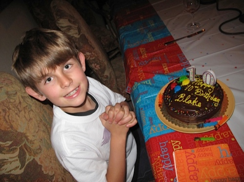 Blake's 10th Birthday, wearing his SPQR T-shirt