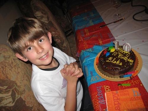Blake's 10th Birthday, wearing his SPQR T-shirt