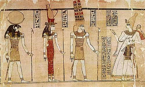 Ramses III with Re, MUT, and Amon